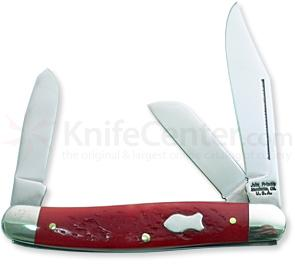 John Primble Stockman w/ 3 Stainless Steel Blades and Red Bone Handles