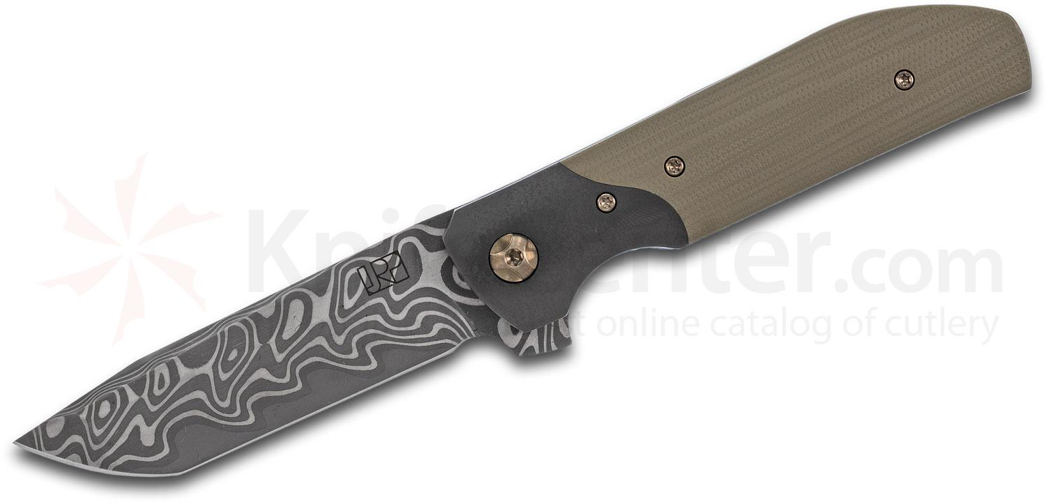 Jared Price Custom Wren Flipper Knife 3.625 inch Nichols Low Layer XHP Core Damascus Blade, OD Green Handles with Zirconium Bolsters and Clip