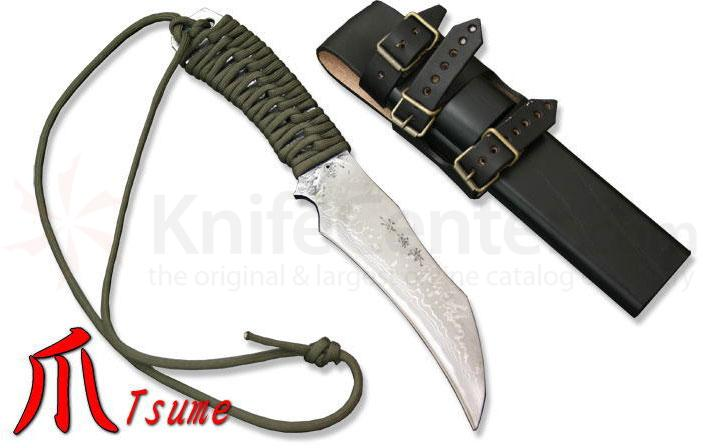 Kanetsune Tsume 4.72 inch Damascus Blade, Parachute Code Wrapped Handle