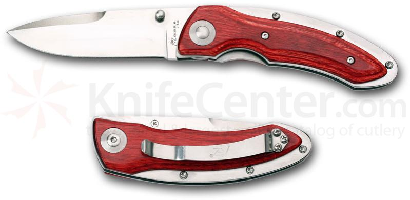 Katz Kagemusha  inchSecret Ninja inch 3.5 inch Plain Edge Drop Point Blade, Cherry Wood Handles