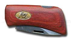 Katz Belt Buckle Knife Red Dymondwood Handle on a Cast Metal Buckle