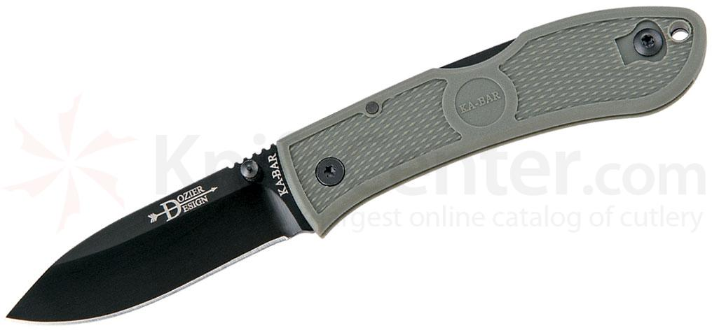 KA-BAR 4062FG Dozier Folding Hunter 3 inch Black Plain Blade, Foliage Green