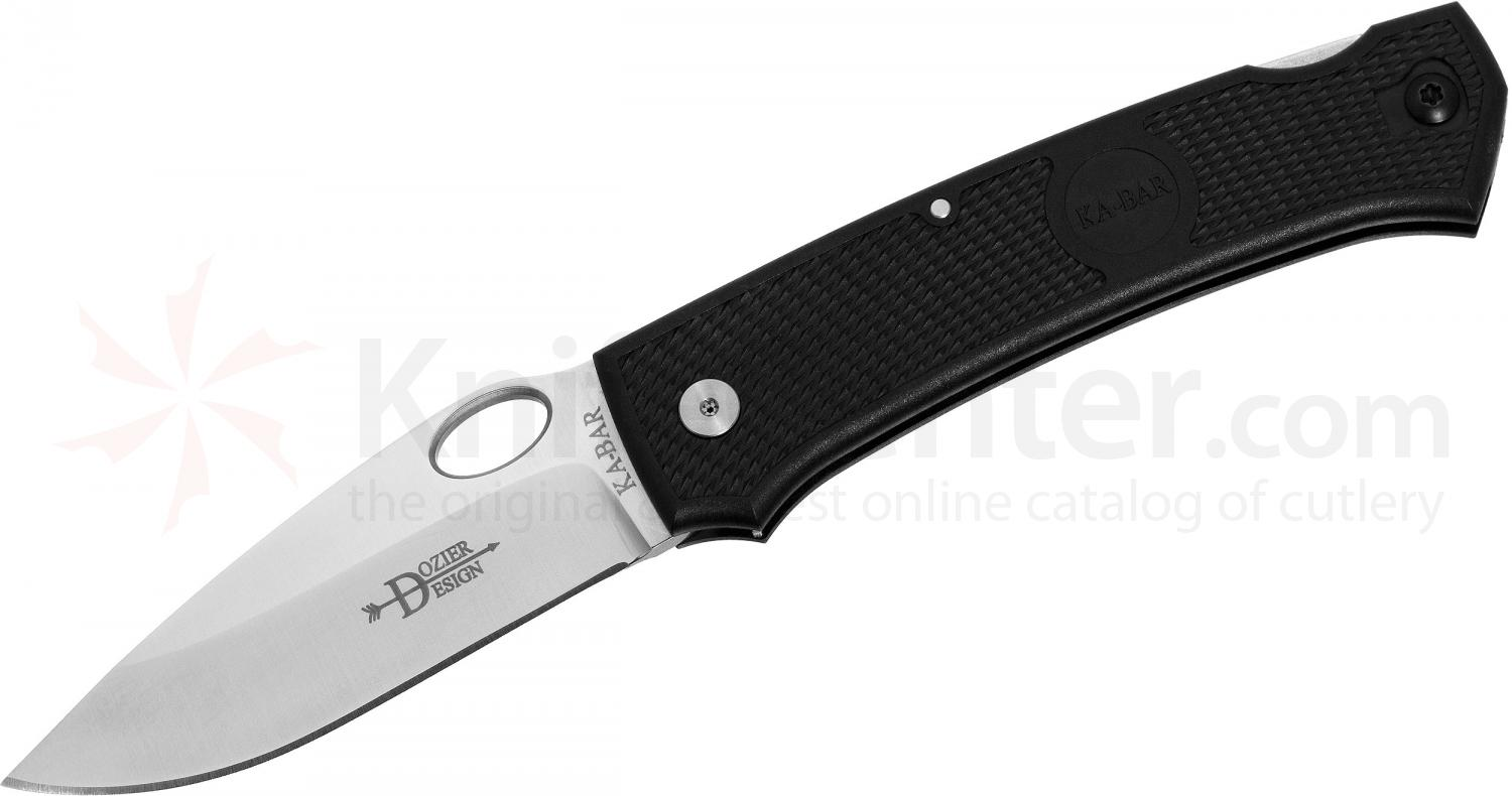 KA-BAR 4071 Large Dozier Folding Hunter 3.625 inch Plain Blade, Black Zytel Handles