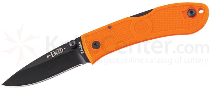 KA-BAR 4072BO Mini Dozier Folding Hunter 2-1/4 inch Black Plain Blade, Blaze Orange