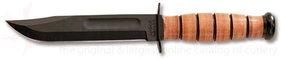 KA-BAR 5025 Full Size US Navy Fighting Knife 7 inch Plain Edge Blade w/ Kydex Sheath