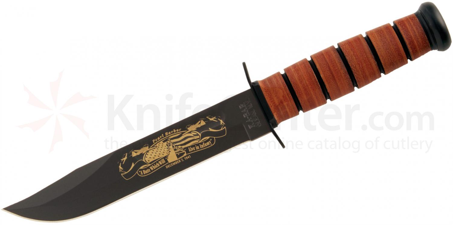 KA-BAR 9110 USN Commemorative Pearl Harbor Fighting Knife 7 inch Plain Blade, Leather Handles, Leather Sheath