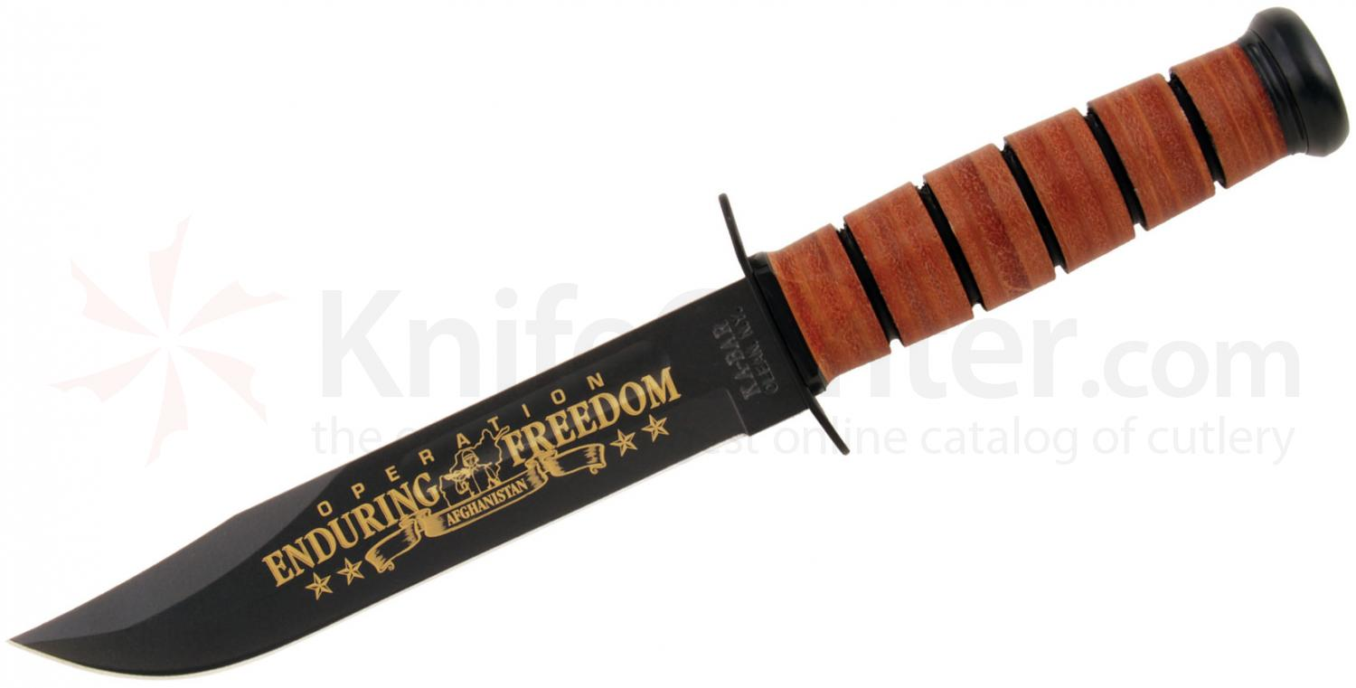 KA-BAR 9168 US Army Commemorative Fighting Knife OEF Afghanistan 7 inch Plain Blade, Leather Handles, Leather Sheath