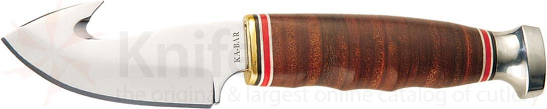 KA-BAR 1234 Game Hook 3-1/4 inch Blade with Gut Hook, Stacked Leather Handles, Leather Sheath