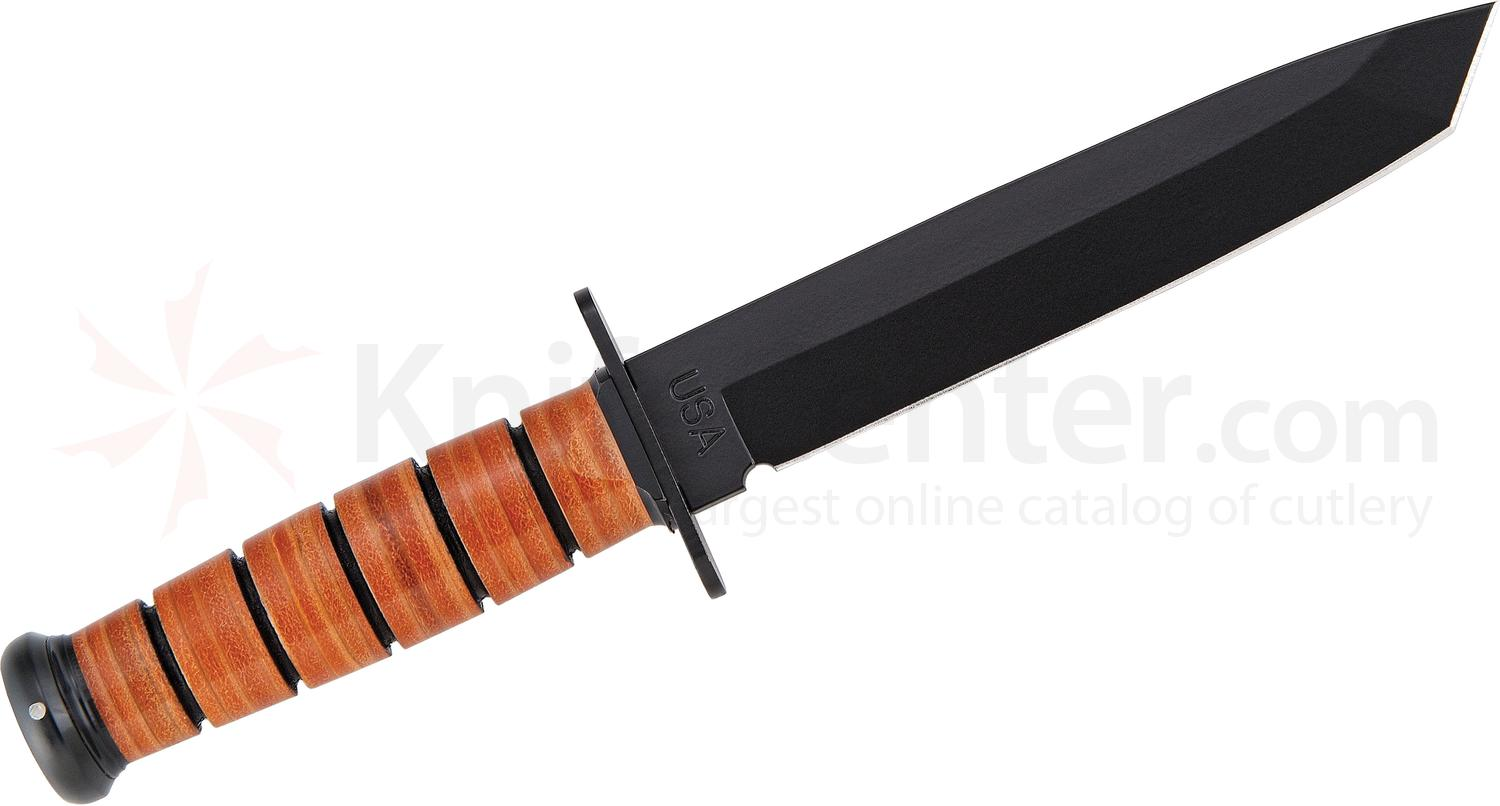 KA-BAR 1264 USA Tanto Fighting Knife 7 inch Plain Blade, Leather Handles, Kydex Sheath