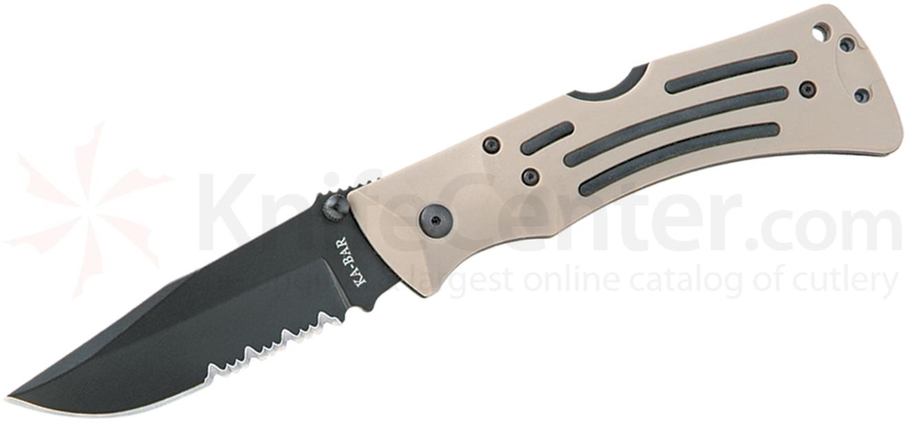 KA-BAR 3053 Desert MULE Heavy-Duty Folder 3.875 inch Clip Point Combo Blade, Tan Zytel Handles