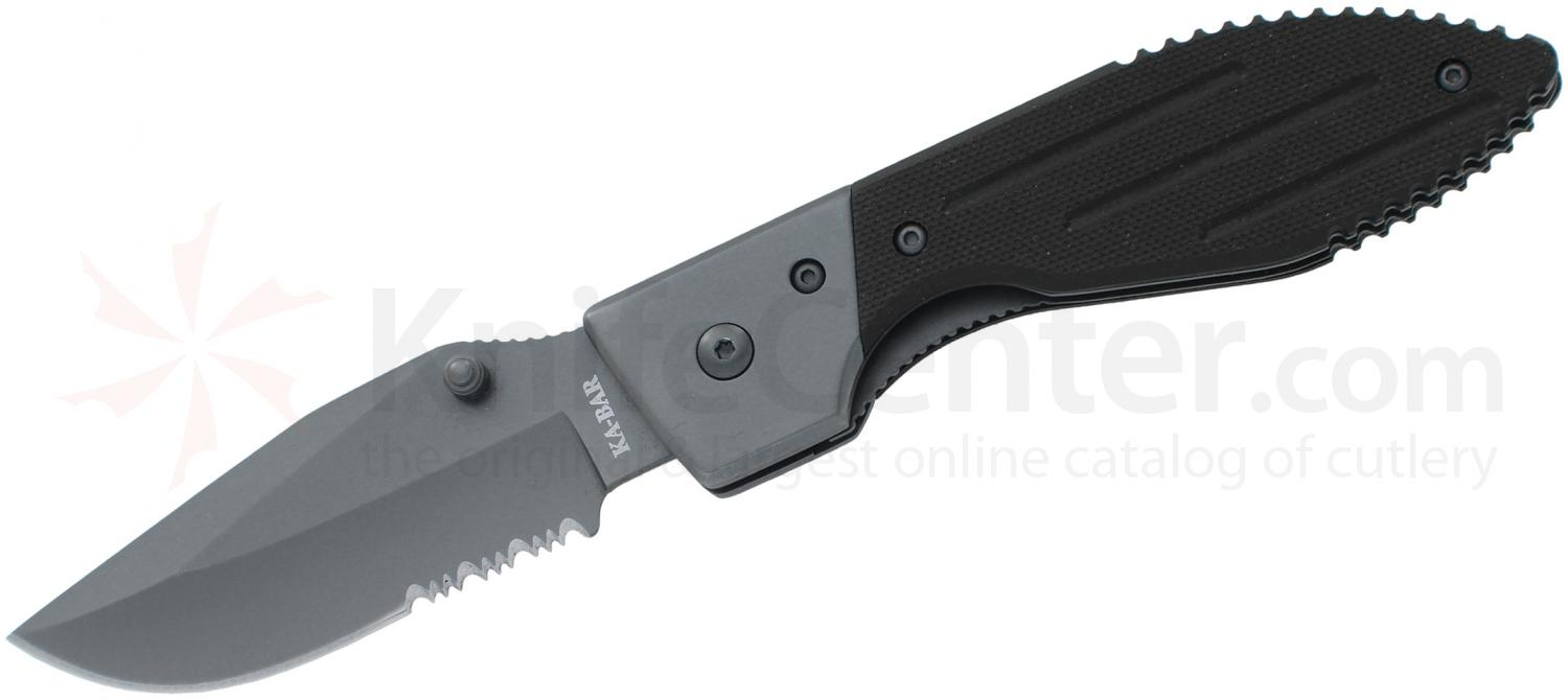 KA-BAR 3073 Warthog Folder III 3.125 inch Drop Point Combo Blade, Black G10 Handles