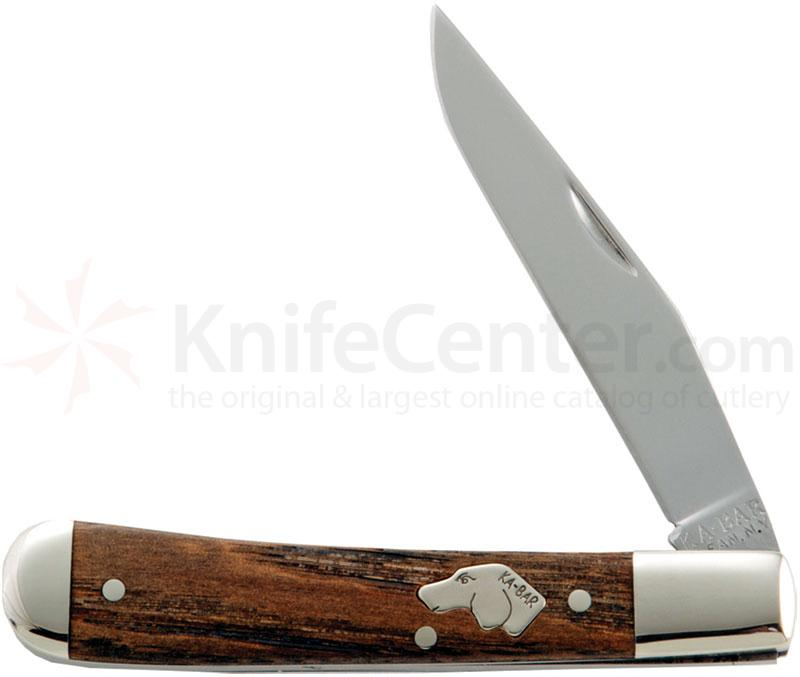 KA-BAR 3111 Dog's Head Trapper 3-1/16 inch Plain Blade, Chestnut Handles