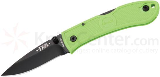 KA-BAR 4072ZG Mini Dozier Folding Hunter 2-1/4 inch Black Plain Blade, Zombie Green Handles