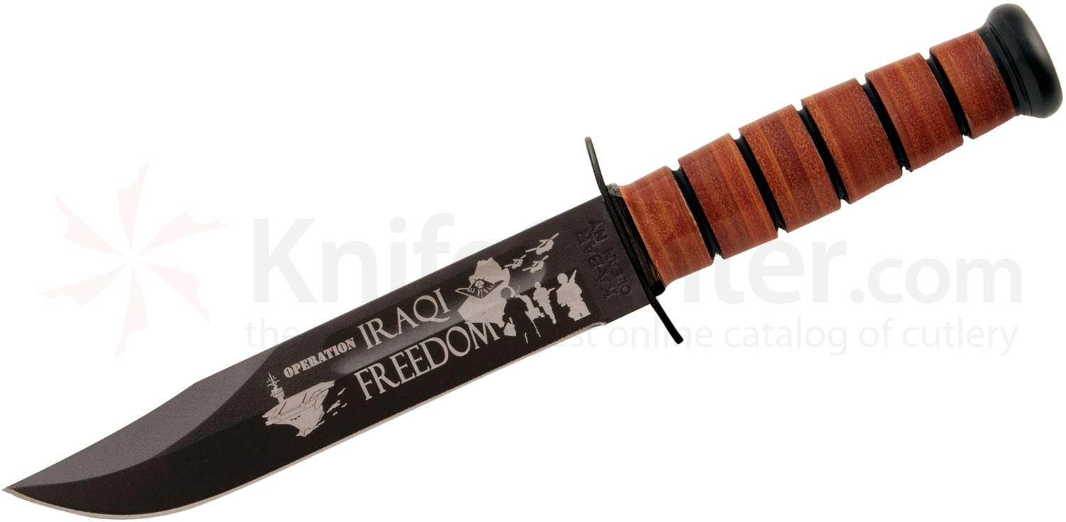 KA-BAR 9127 US Army Commemorative Iraqi Freedom Fighting Knife 7 inch Plain Blade, Leather Handles, Leather Sheath