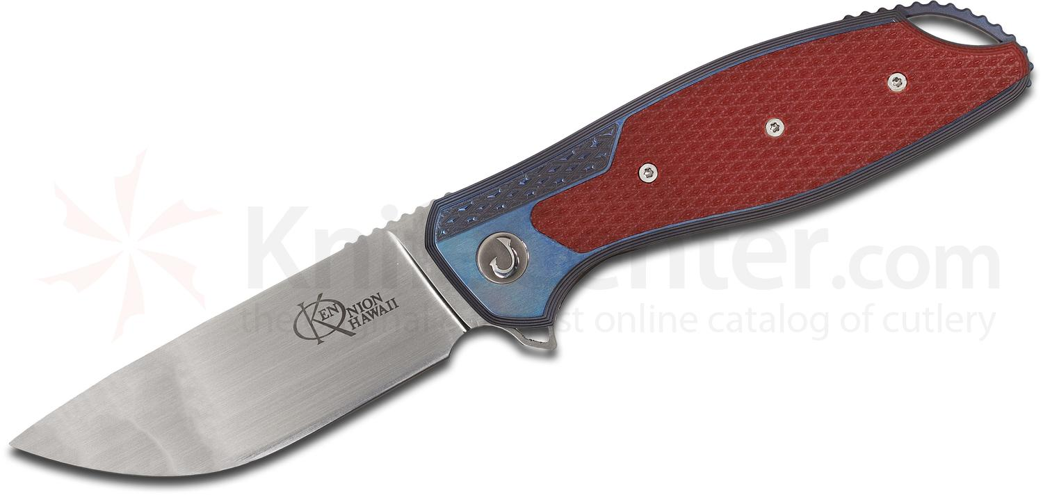 Ken Onion Custom Jake Flipper 3.375 inch CPM-154 Hand Rubbed Satin Blade, Milled Blue Titanium Handles with Red G10 Inlays