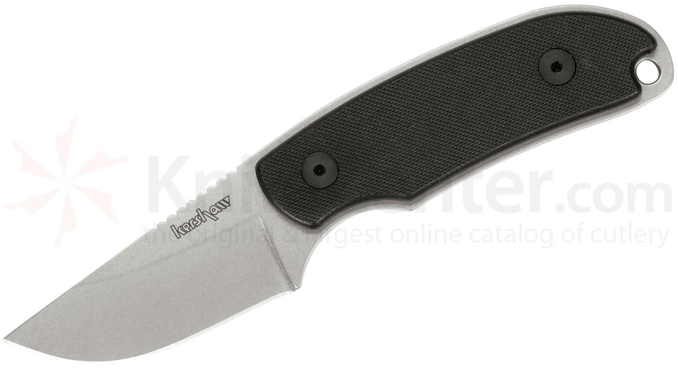 Kershaw 1080 Skinning Knife 2-3/8 inch Stonewash Blade, Black G10 Handles, Black Leather Sheath