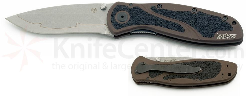Kershaw Brown Blur Assisted 3-3/8 inch Composite ZDP-189 Stonewash Blade