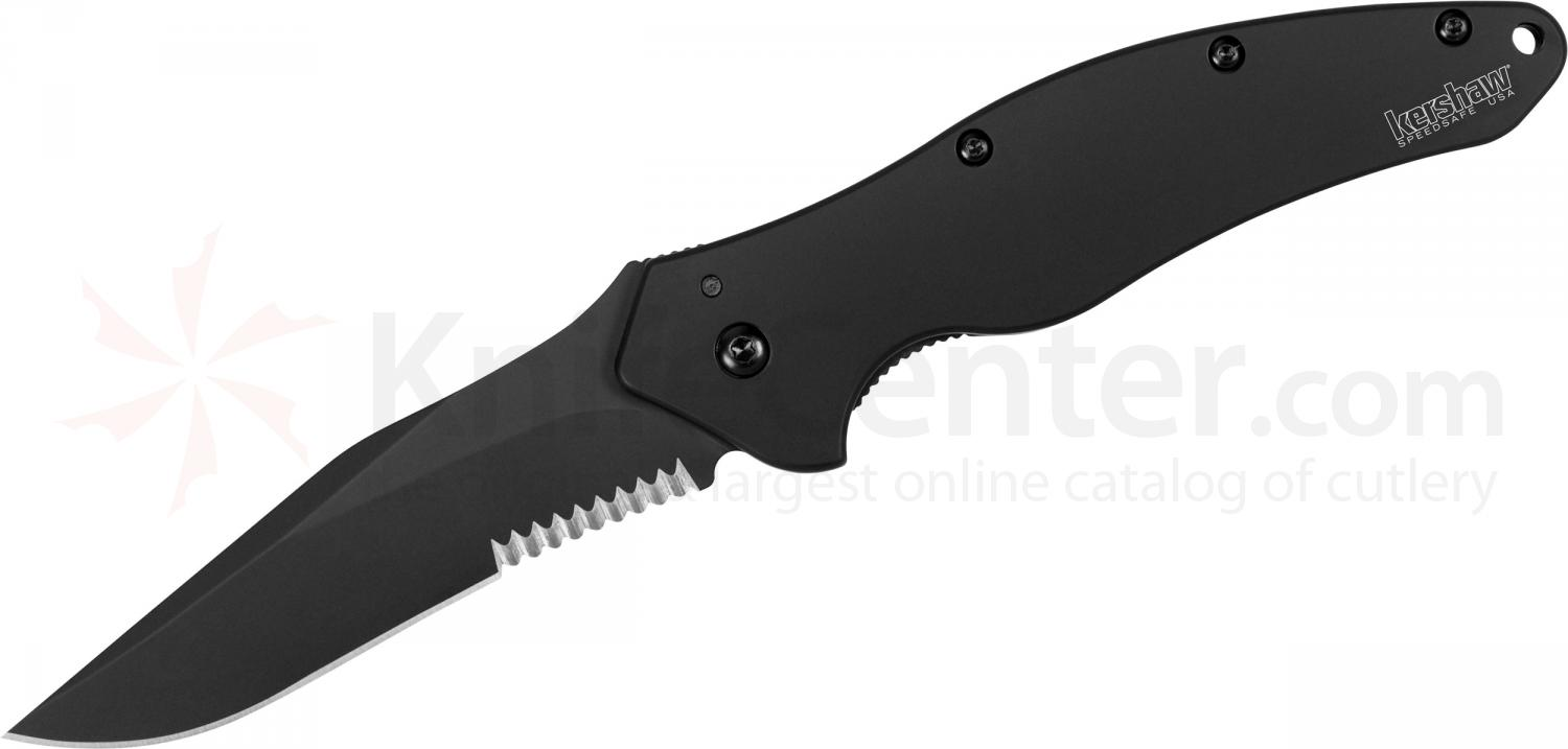 Kershaw 1840CKTST Shallot Assisted Flipper 3.5 inch Black Combo Blade, Stainless Steel Handles