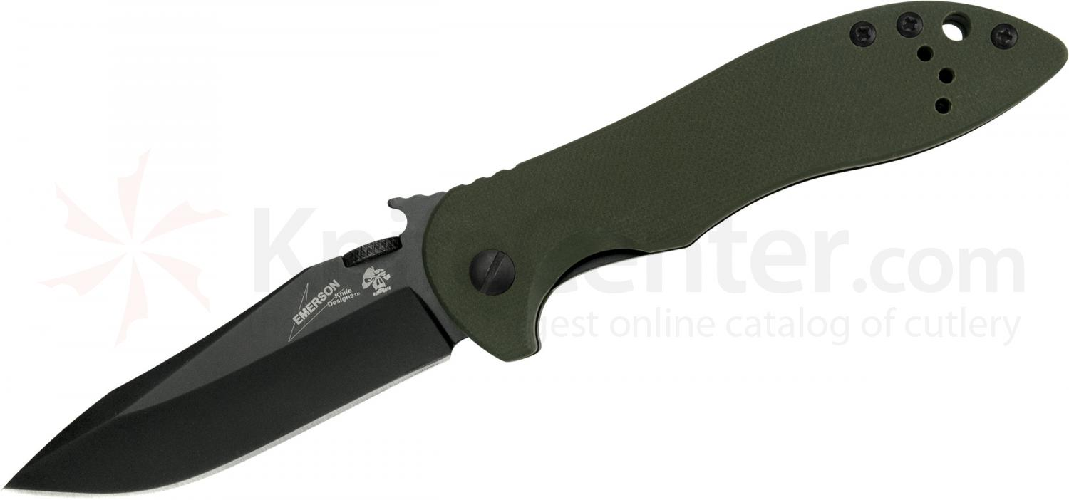 Kershaw Emerson 6074OLBLK CQC-5K Folding Knife 3 inch Black Blade, OD Green G10 Handles