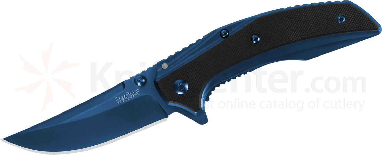 Kershaw 8320 Outright Assisted Flipper 3 inch Blue Upswept Blade, Blue Stainless Steel Handles with Black G10 Overlays