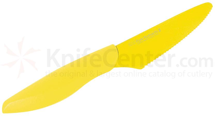 KAI Pure Komachi 2 Series (Yellow) 4 inch Serrated Fruit Knife with Sheath (AB1277)