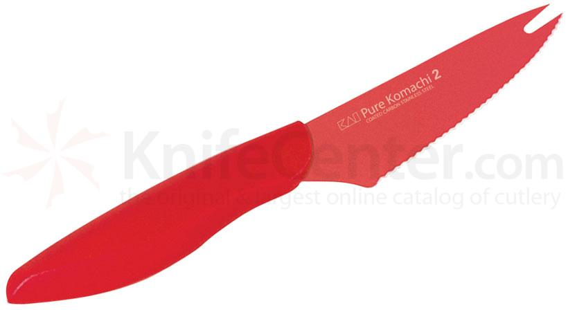 KAI Pure Komachi 2 Series (Red) 4 inch Tomato / Cheese Knife (AB2204)