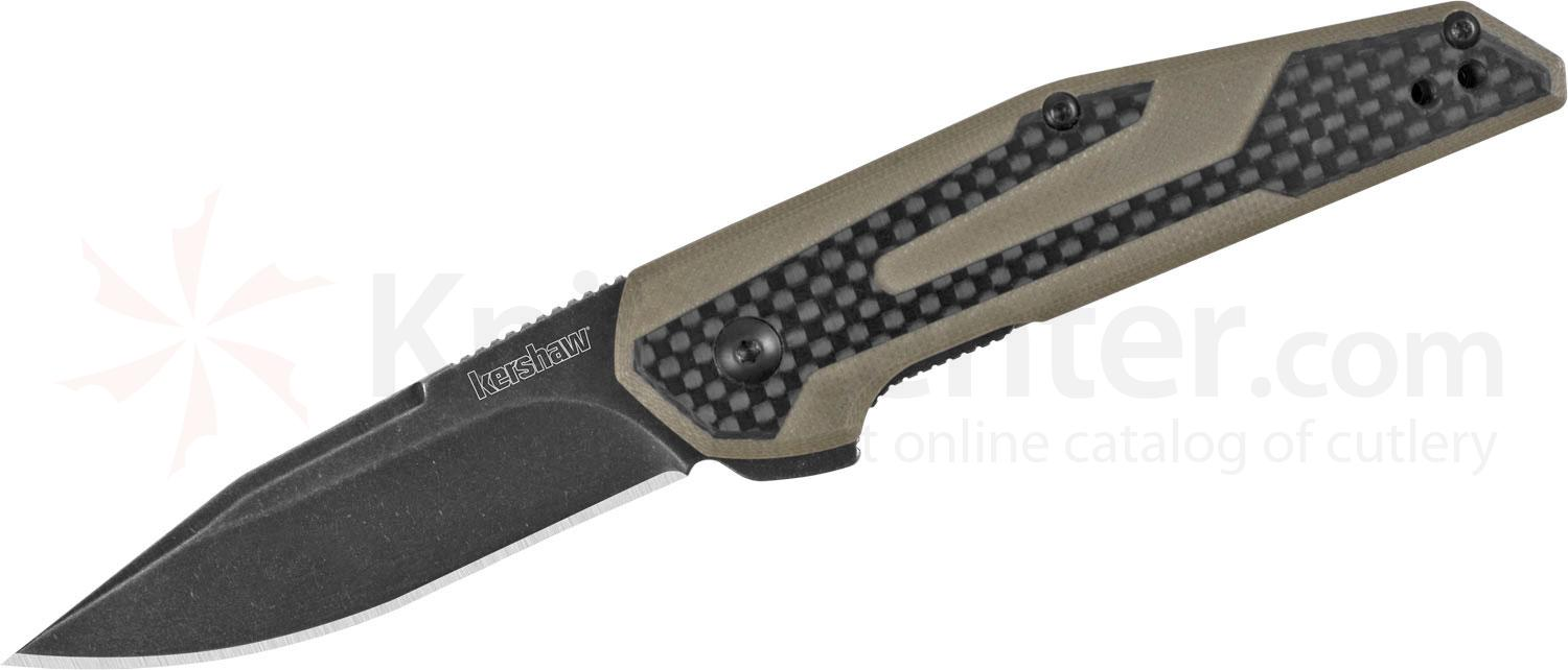 Kershaw 1160TANBW Jens Anso Fraxion Flipper 2.75 inch BlackWashed Clip Point Blade, Tan G10 Handles with Carbon Fiber Overlays