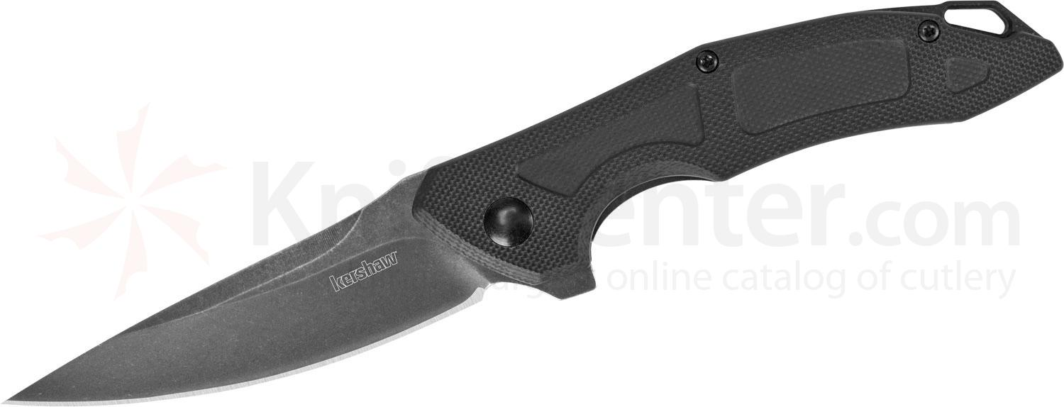 Kershaw 1170 Jens Anso Method Flipper Knife 3 inch BlackWashed Drop Point Blade, Machined Black G10 Handles