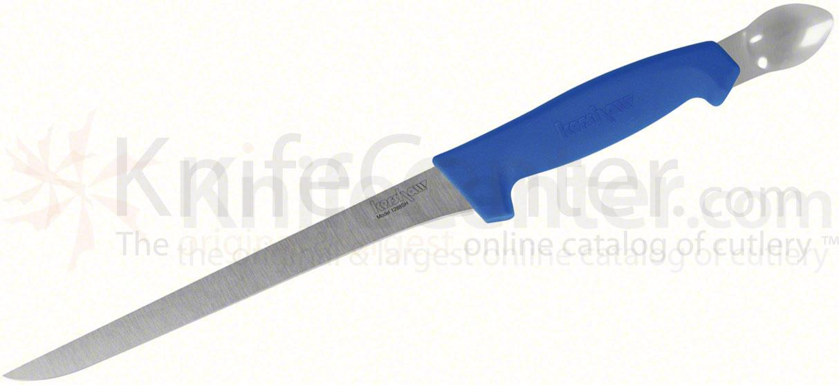 Kershaw 1288SH Professional Grade Spoon-Handle Fillet Knife 8-1/2 inch Blade, Blue Polypropylene Handle