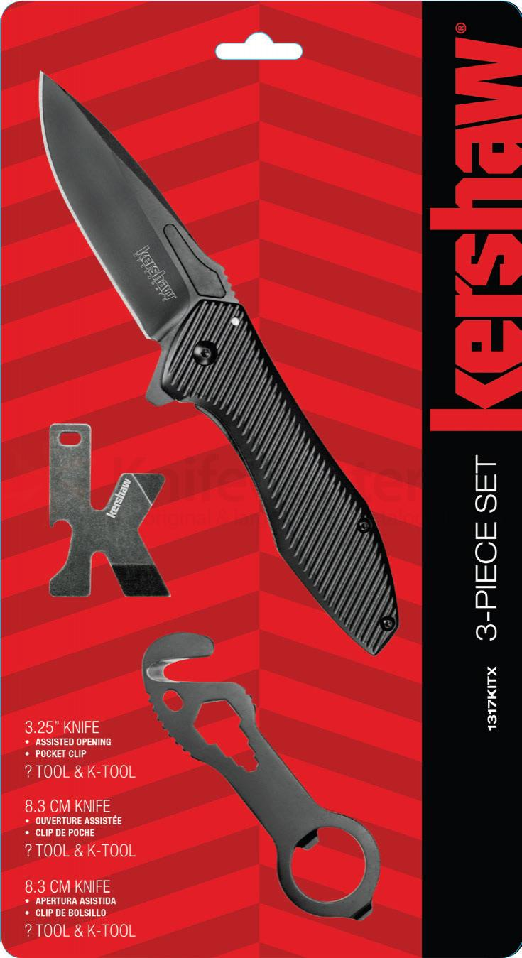 Kershaw 1317KITX 3-Piece Set, Assisted Opening Utility Flipper, K-Tool and Utility Cutter