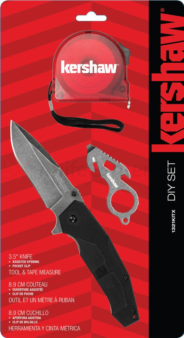 Kershaw 1321KITX DIY Set, Assisted Opening BlackWash Utility Flipper, Mini Multi-Tool and Tape Measure