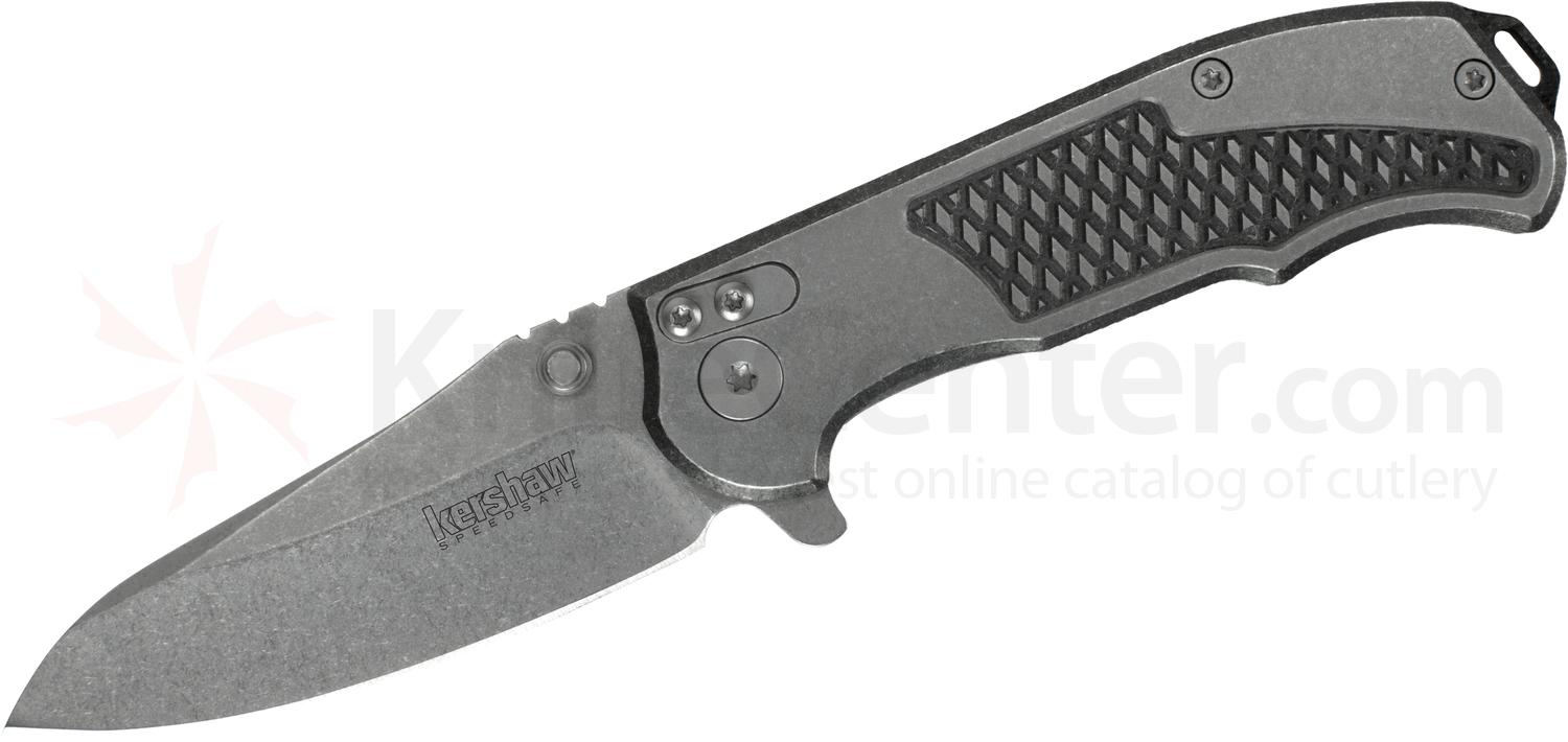 Kershaw 1558 Hinderer Agile Assisted Flipper 2.75 inch Stonewashed Drop Point Blade, Stainless Steel Handles