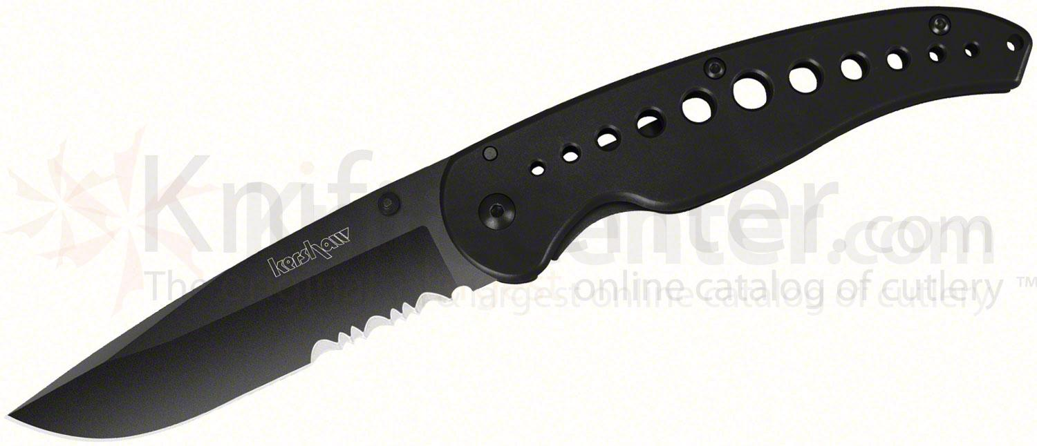 Kershaw 1655BLKST Vapor III Folding Knife 3-1/2 inch Black Combo Blade, Stainless Steel Handles