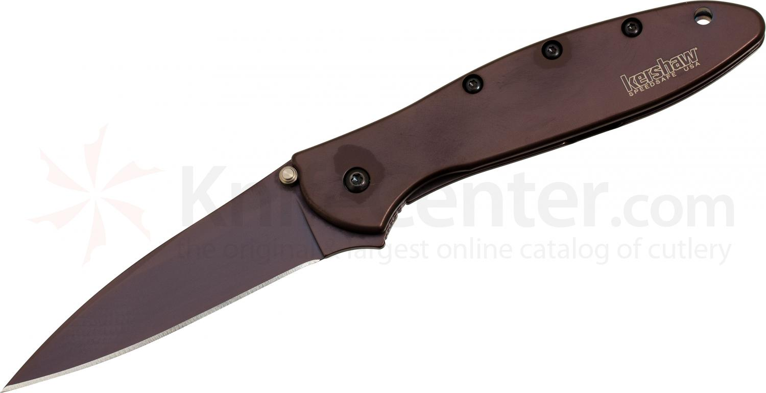 Kershaw 1660BRN Leek Assisted 3 inch Brown DLC Plain Blade, Brown Stainless Steel Handles