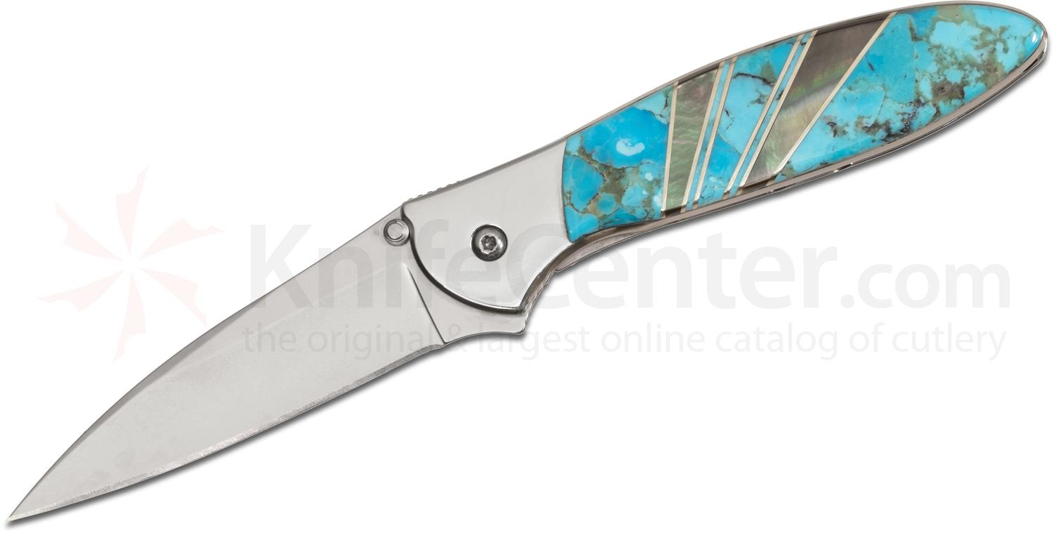 Kershaw Leek Assisted 3 inch Plain Blade, Stainless Steel Handles, Turquoise and Mother of Pearl Onlays
