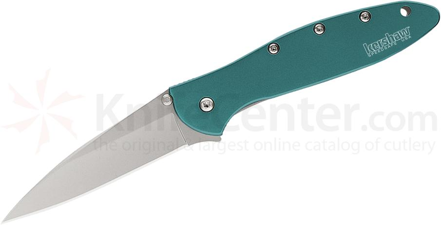 Kershaw 1660TEAL Leek Assisted 3 inch Bead Blast Plain Blade, Teal Aluminum Handles