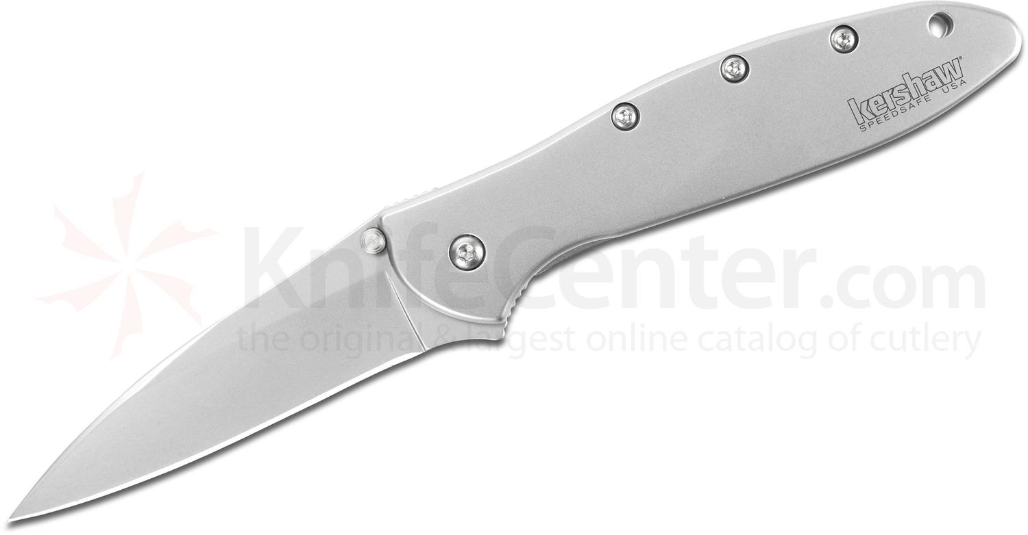Kershaw 1660 Ken Onion Leek Assisted Flipper 3 inch Bead Blast Plain Blade, Stainless Steel Handles