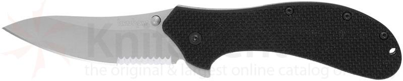 Kershaw PackRat Assisted 3-1/4 inch Combo Blade, Black G10 Handles