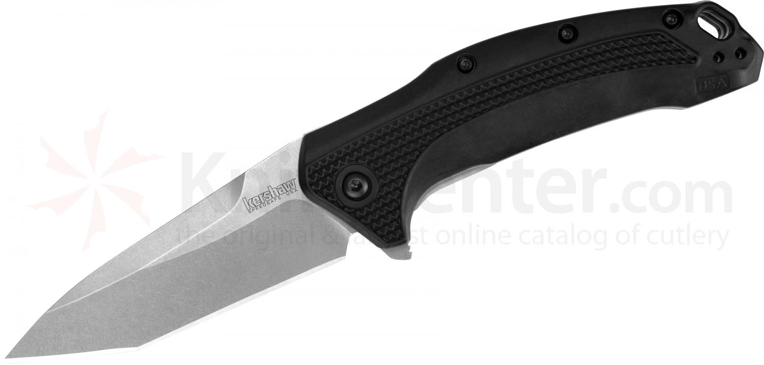 Kershaw 1776T Link Folding Knife Assisted 3.25 inch Stonewash Plain Tanto Blade. Black GFN Handles