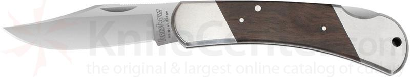Kershaw Classic Wildcat Ridge 3-1/2 inch Satin Blade, Hardwood Inlays
