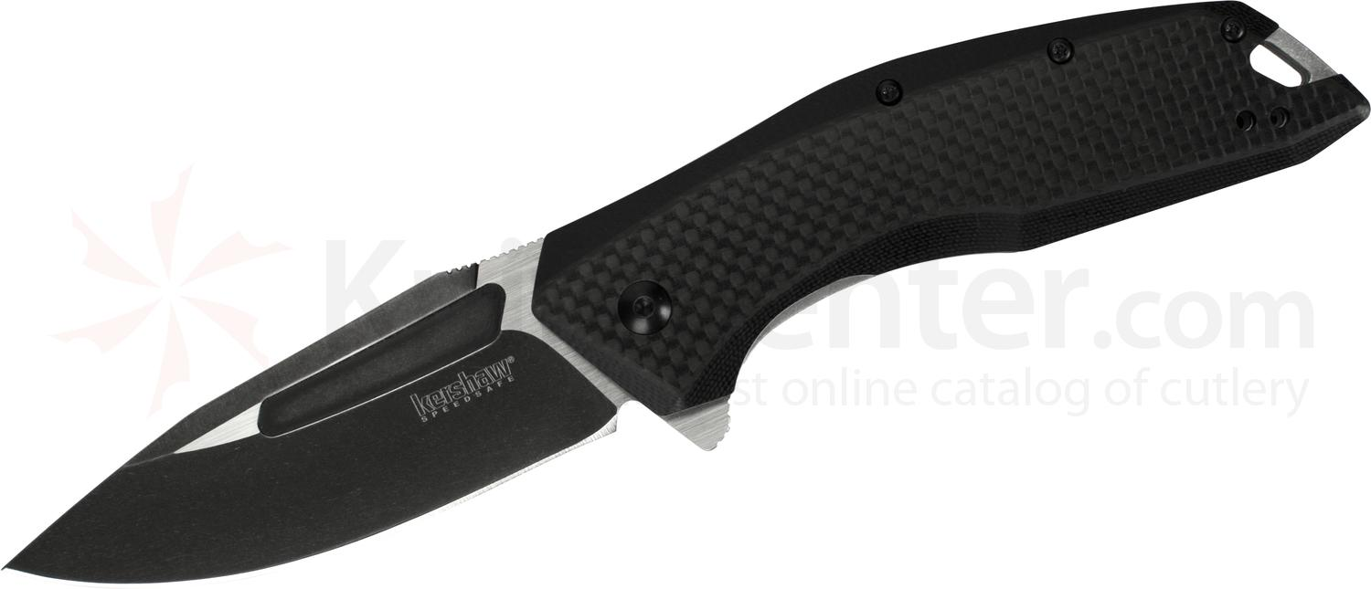 Kershaw 3935 Flourish Assisted Flipper 3.5 inch Two-Tone Drop Point Blade, G10 Handles with Carbon Fiber Overlays