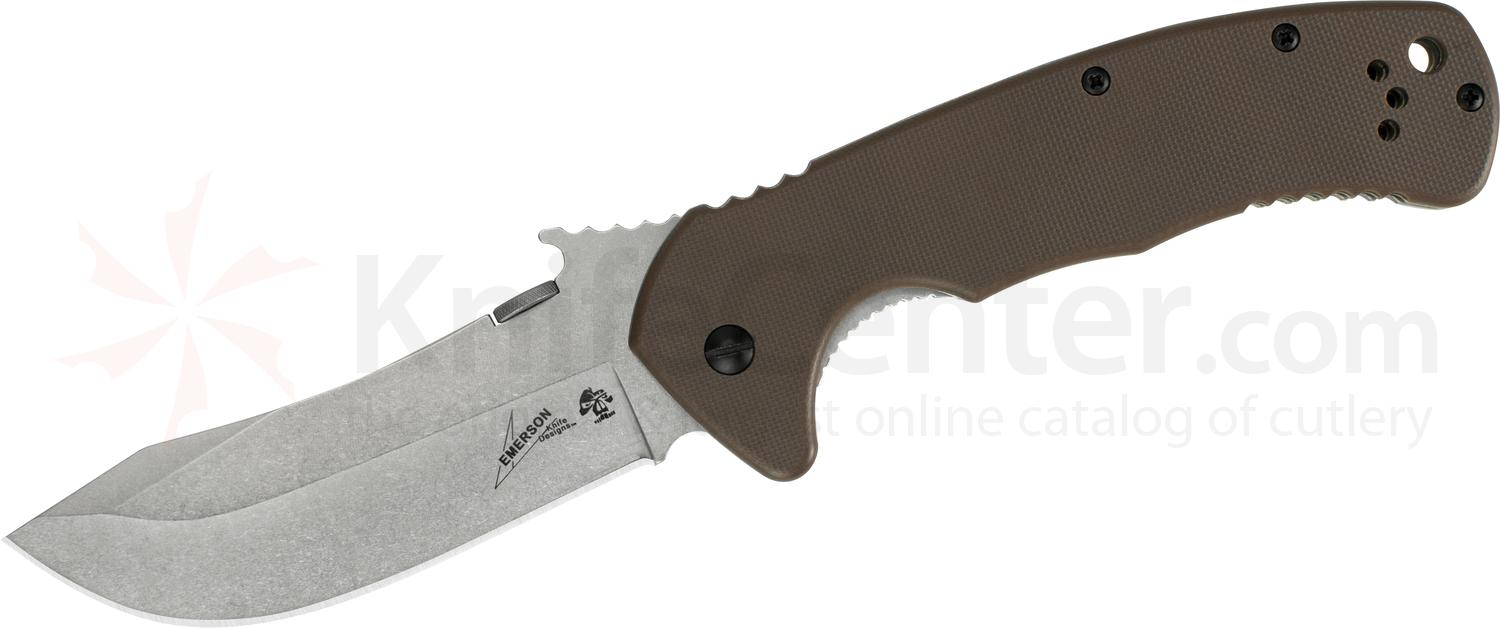 Kershaw Emerson 6031 CQC-11K Folding Knife 3.5 inch Stonewashed Skinner Blade with Wave, Brown G10 and Steel Handles