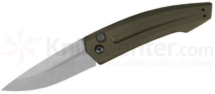 Kershaw 7200SWOL Launch 2 AUTO Folder 3.25 inch CPM-154 Stonewashed Plain Blade, OD Green Aluminum Handles