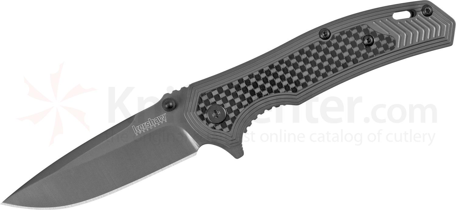 Kershaw 8310 Fringe Assisted Flipper 3 inch Ti Carbo-Nitride Drop Point Blade and Stainless Steel Handles with Carbon Fiber Insert