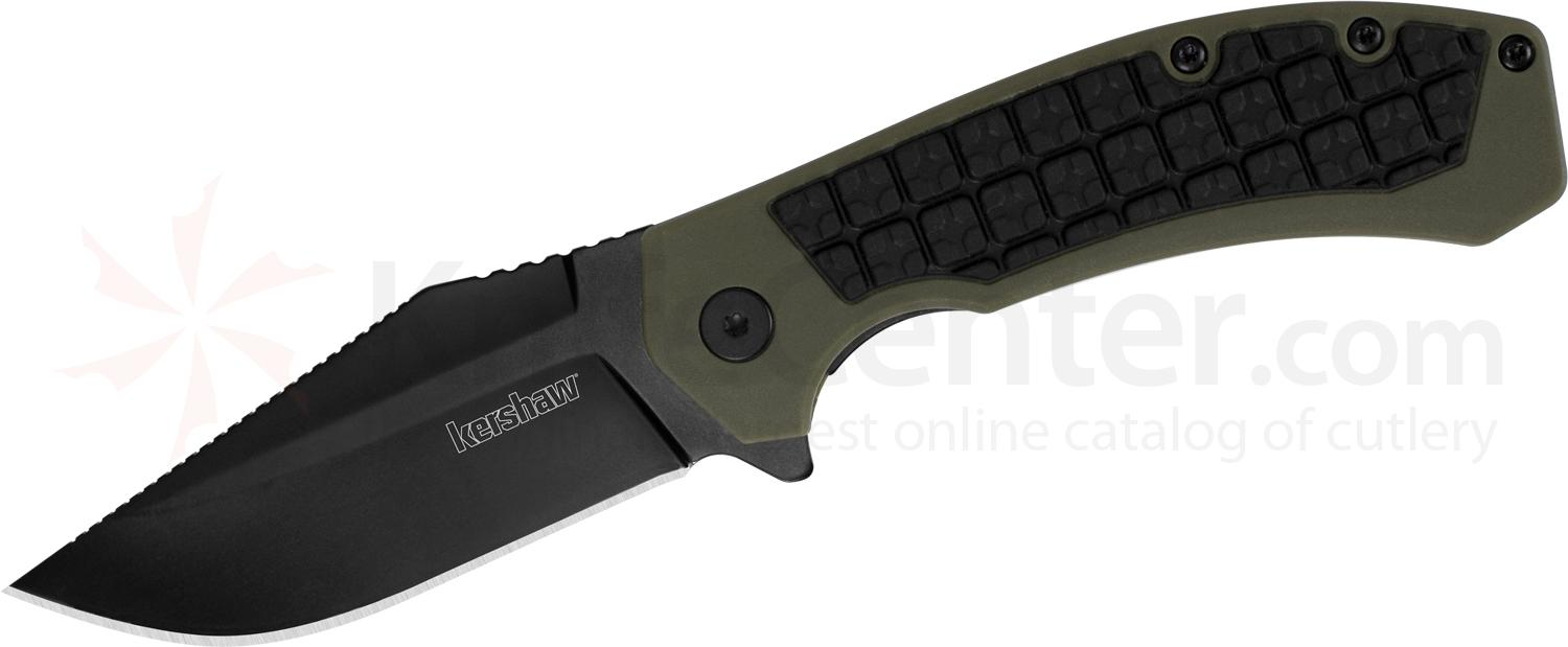 Kershaw 8760 Faultline Flipper 3 inch Black Oxide Clip Point Blade, OD Green GFN Handles with Rubber Inserts