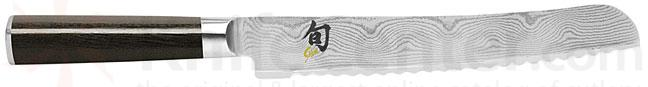 Shun Classic Japanese Style Bread Slicing Knife 9 inch Damascus Blade