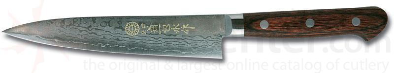 Kikuichi Small Damascus Gold All Purpose Knife 5.3 inch Blade (WGAD13-05-3)