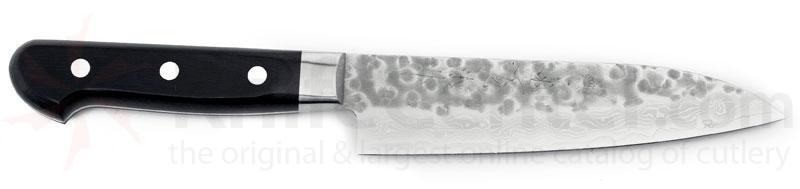 Kikuichi Small Tsuchime Damascus All Purpose Knife 6 inch Hammered Blade (WGAD15-6-0SP)