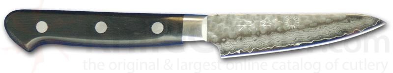 Kikuichi Small Tsuchime Damascus Gold All Purpose Knife 3.2 inch Hammered Blade (WGAD08-03-0SP)