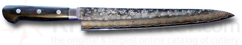 Kikuichi Warikomi Tsuchime Damascus Slicing Knife 9.5 inch Hammered Blade (WGSD24-09-5SP)
